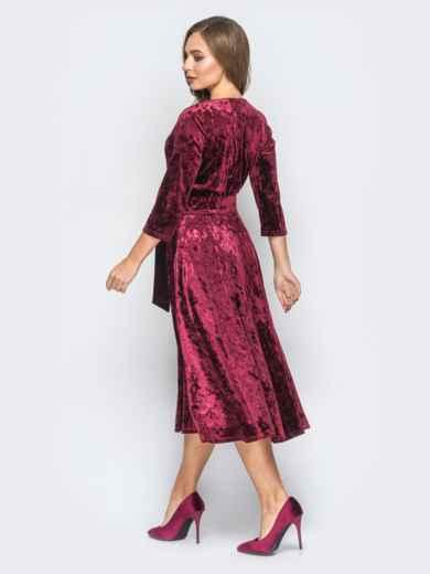 Велюровое платье бордового цвета с расклешенной юбкой - 18323, фото 3 – интернет-магазин Dressa