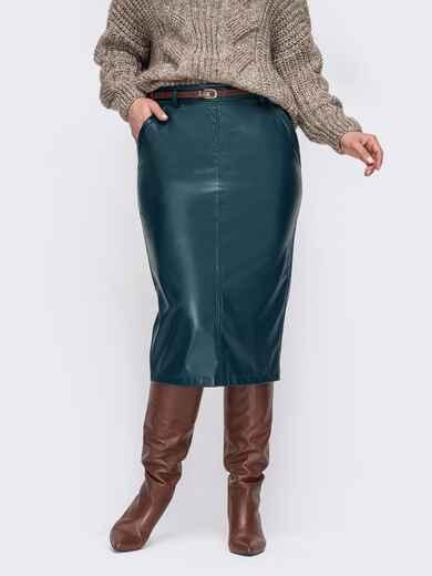 Зеленая юбка большого размера из экокожи 52796, фото 1