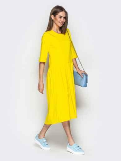 Жёлтое платье oversize со складками на юбке - 20656, фото 2 – интернет-магазин Dressa