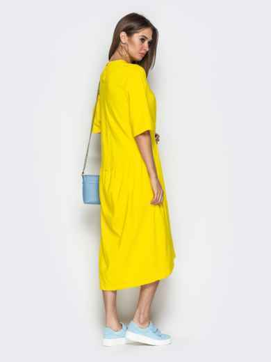 Жёлтое платье oversize со складками на юбке - 20656, фото 3 – интернет-магазин Dressa