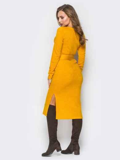 Желтое трикотажное платье-гольф с разрезами по бокам - 18349, фото 3 – интернет-магазин Dressa