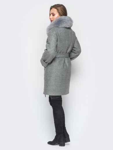 Зимнее пальто с удлиненной спинкой и мехом серое - 18316, фото 3 – интернет-магазин Dressa