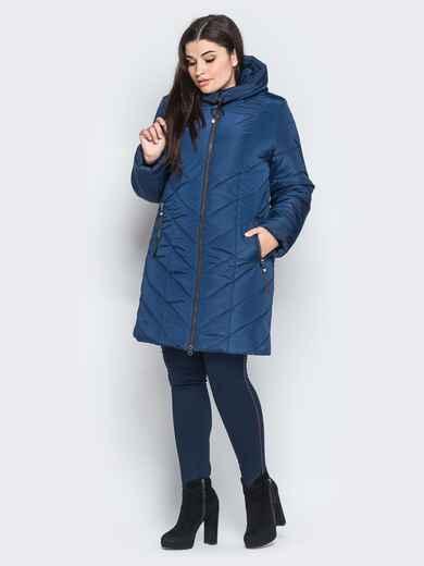 Зимняя куртка с карманами на молнии тёмно-синяя - 18260, фото 1 – интернет-магазин Dressa