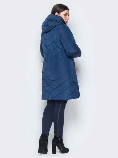 Зимняя куртка с карманами на молнии тёмно-синяя - 18260, фото 2 – интернет-магазин Dressa