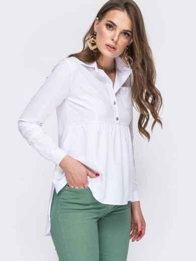 Блузка белого цвета с удлиненной спинкой 45647, фото 2