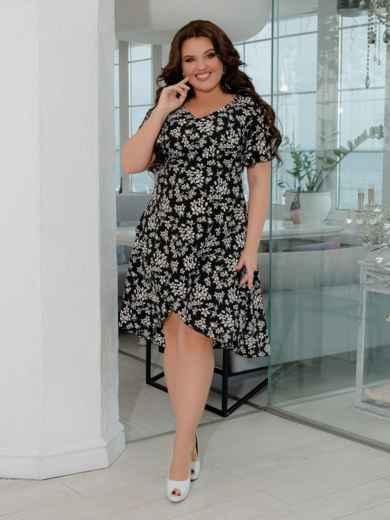 Чёрное платье батал с принтом и удлиненной спинкой 47394, фото 1