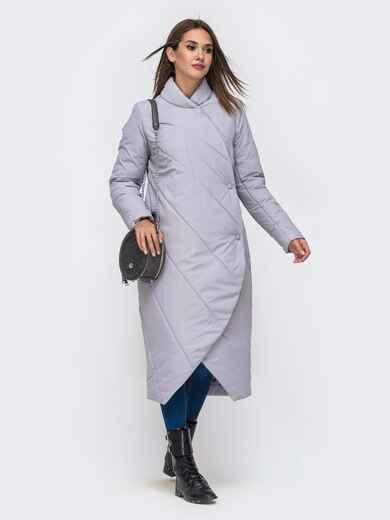 Демисезонная куртка серого цвета на кнопках 41706, фото 1