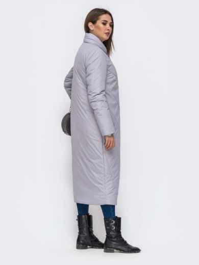 Демисезонная куртка серого цвета на кнопках - 41706, фото 3 – интернет-магазин Dressa