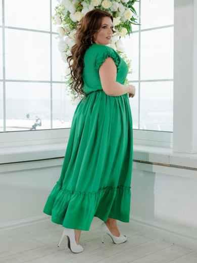 Длинное платье батал с расклешенной юбкой зеленое 47380, фото 2