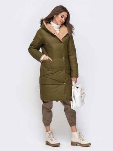 Двухсторонняя куртка с объемным капюшоном бежевая - 41707, фото 2 – интернет-магазин Dressa
