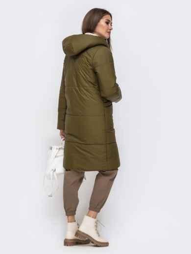 Двухсторонняя куртка с объемным капюшоном бежевая - 41707, фото 3 – интернет-магазин Dressa