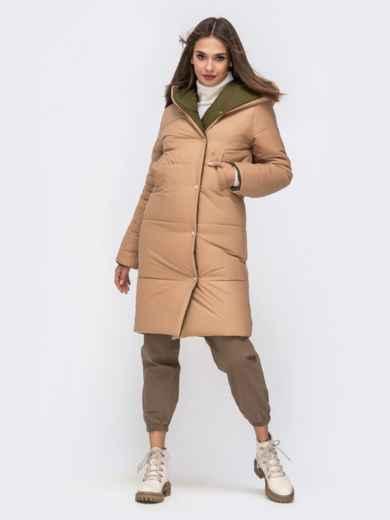 Двухсторонняя куртка с объемным капюшоном бежевая - 41707, фото 4 – интернет-магазин Dressa