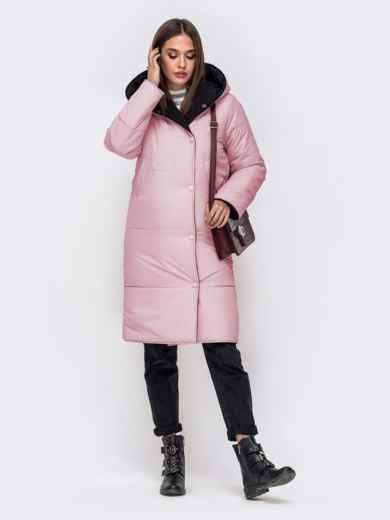 Двухсторонняя куртка с объемным капюшоном пудровая - 41709, фото 2 – интернет-магазин Dressa