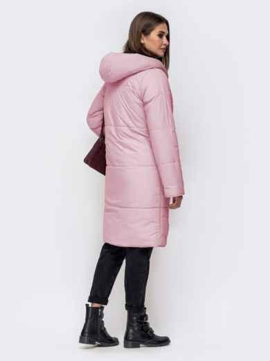 Двухсторонняя куртка с объемным капюшоном пудровая - 41709, фото 3 – интернет-магазин Dressa