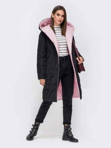 Двухсторонняя куртка с объемным капюшоном пудровая - 41709, фото 4 – интернет-магазин Dressa