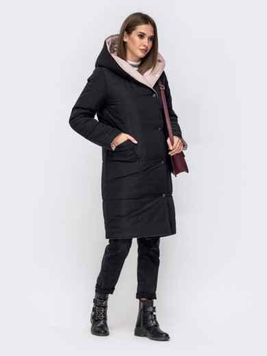 Двухсторонняя куртка с объемным капюшоном пудровая - 41709, фото 5 – интернет-магазин Dressa