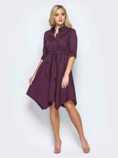 Фиолетовое платье-рубашка с кулиской на талии - 15695, фото 1 – интернет-магазин Dressa