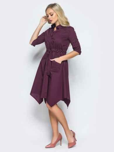 Фиолетовое платье-рубашка с кулиской на талии - 15695, фото 2 – интернет-магазин Dressa