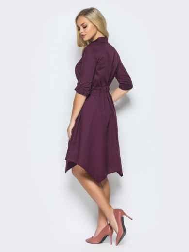Фиолетовое платье-рубашка с кулиской на талии - 15695, фото 3 – интернет-магазин Dressa