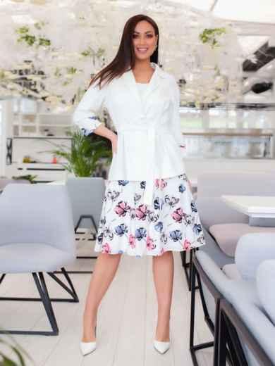 Комплект из платья с принтом и жакета белый 47861, фото 1