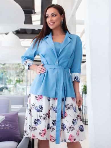 Комплект из платья с принтом и жакета голубой 47862, фото 1
