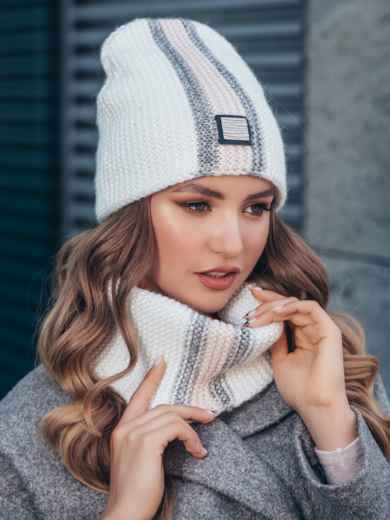 Комплект с контрастнй вязкой из шапки и хомута белый 40443, фото 2