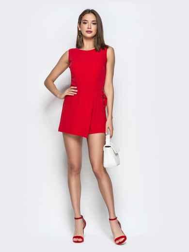 Красный комбинезон с юбкой-шортами - 21510, фото 1 – интернет-магазин Dressa