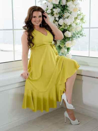 Приталенное платье батал с воланом по низу желтое 47393, фото 1