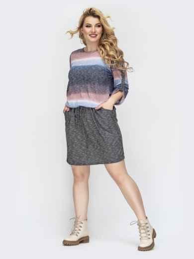 Синее платье большого размера с напуском по талии - 44500, фото 2 – интернет-магазин Dressa