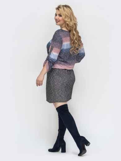 Синее платье большого размера с напуском по талии - 44500, фото 3 – интернет-магазин Dressa