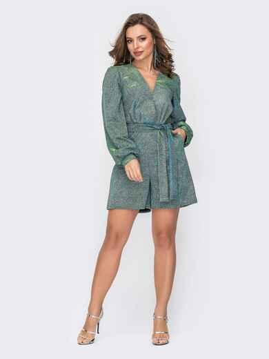 Зелёный комбинезон с люрексом и шортами 52106, фото 1