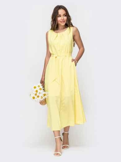 Желтое платье с расклешенной юбкой 49152, фото 2