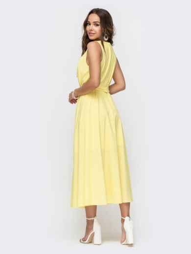 Желтое платье с расклешенной юбкой 49152, фото 3