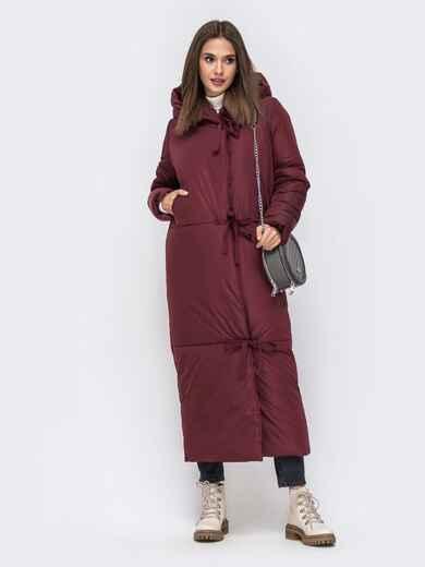 Зимняя куртка в пол со вшитым капюшоном бордовая 41704, фото 1