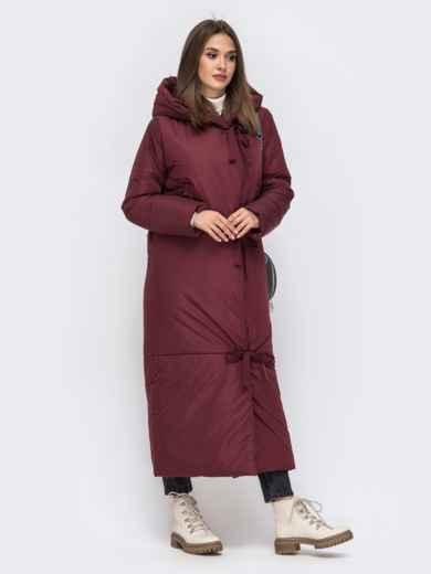 Зимняя куртка в пол со вшитым капюшоном бордовая - 41704, фото 2 – интернет-магазин Dressa