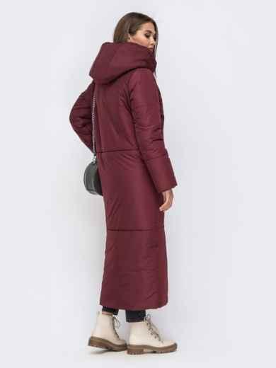 Зимняя куртка в пол со вшитым капюшоном бордовая - 41704, фото 3 – интернет-магазин Dressa