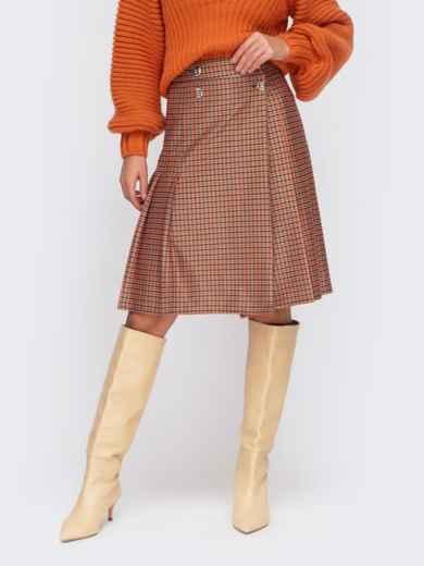 Оранжевая юбка на запах со складками и пуговицами 55597, фото 1