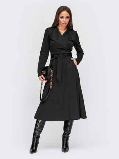 Черное платье на запах из французского трикотажа с воротником 55598, фото 1