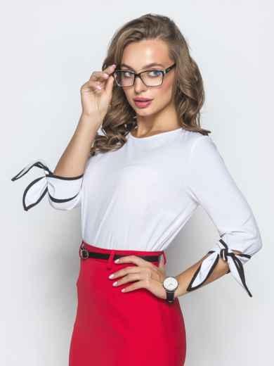 Блузка белого цвета с завязками на манжетах - 39869, фото 2 – интернет-магазин Dressa