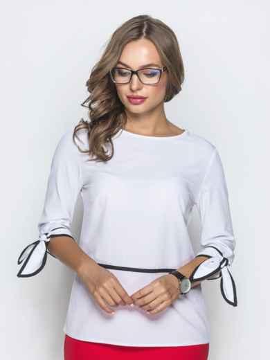 Блузка белого цвета с завязками на манжетах - 39869, фото 4 – интернет-магазин Dressa