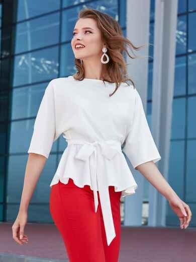 Блузка с баской и резинкой по талии белая - 39868, фото 1 – интернет-магазин Dressa