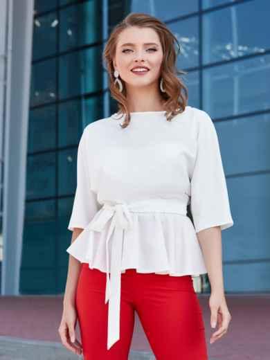 Блузка с баской и резинкой по талии белая - 39868, фото 2 – интернет-магазин Dressa