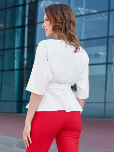 Блузка с баской и резинкой по талии белая - 39868, фото 3 – интернет-магазин Dressa
