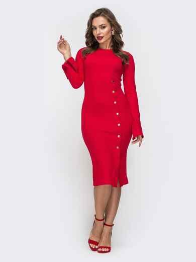 Обтягивающее платье с разрезами на рукавах красное 45707, фото 1