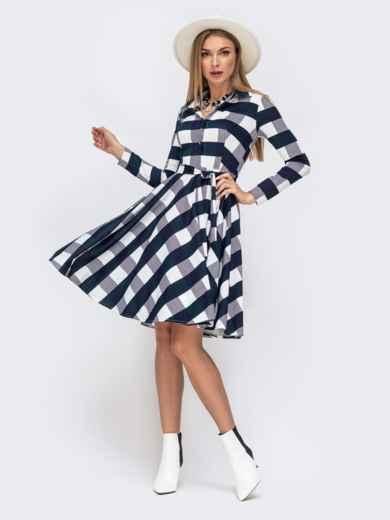 Платье в тёмно-синюю клетку с расклешенной юбкой - 41596, фото 2 – интернет-магазин Dressa