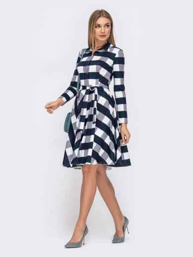 Платье в тёмно-синюю клетку с расклешенной юбкой - 41596, фото 3 – интернет-магазин Dressa
