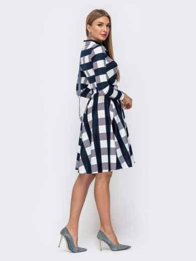 Платье в тёмно-синюю клетку с расклешенной юбкой - 41596, фото 4 – интернет-магазин Dressa