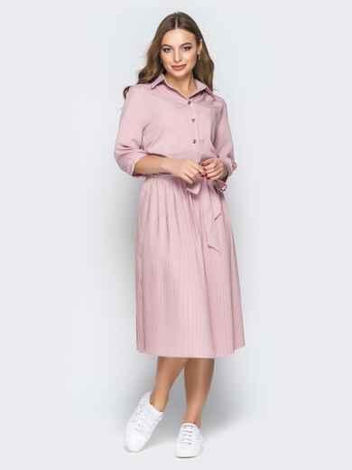 Розовое платье-рубашка с юбкой-плиссе и поясом - 19597, фото 1 – интернет-магазин Dressa