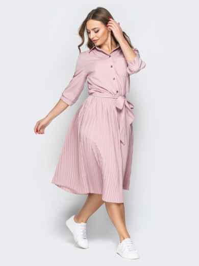 Розовое платье-рубашка с юбкой-плиссе и поясом - 19597, фото 2 – интернет-магазин Dressa