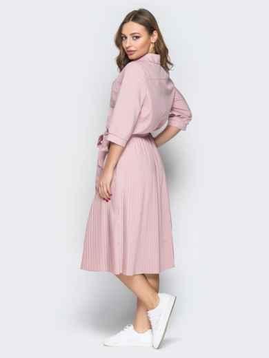 Розовое платье-рубашка с юбкой-плиссе и поясом - 19597, фото 3 – интернет-магазин Dressa